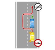 Выезд на сторону дороги, предназначенную для встречного движения, в зоне действия знака «Обгон запрещен» (при наличии разметки, изображенной на рисунке, могут быть установлены только временные знаки «Обгон запрещен»).