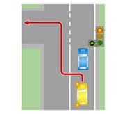 Движение по встречной полосе, когда выезд на нее запрещен, перед поворотом.