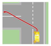 Выезд на встречную полосу после поворота.