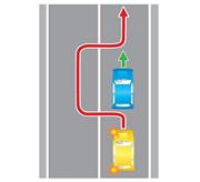 Обгон с выездом на встречную полосу через сплошную (или двойную сплошную) линию разметки.
