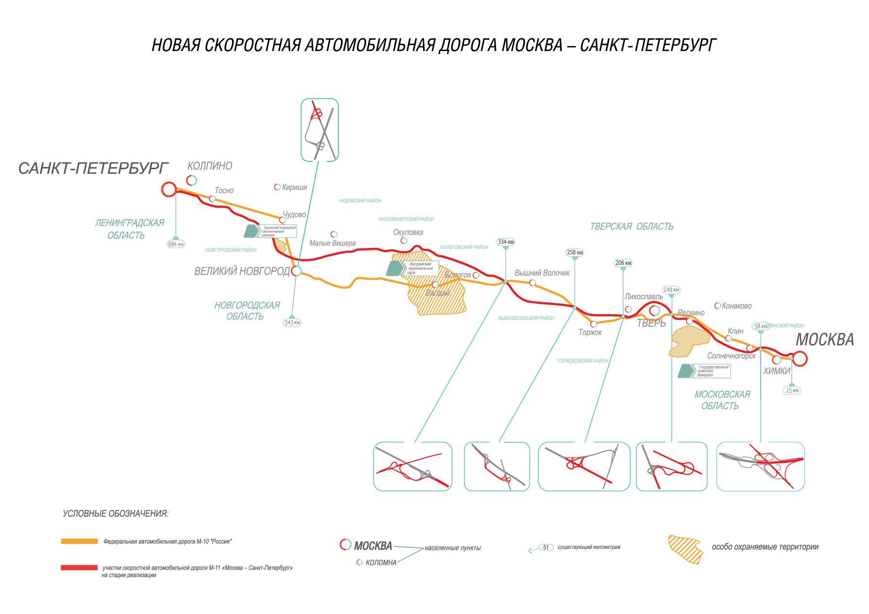 Карта-схема трассы М11