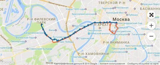 Маршрут автобуса Т2, Москва, Новый Арбат  - Филевский парк
