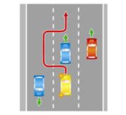 Выезд на крайнюю левую полосу на трехполосной дороге с двусторонним движением.