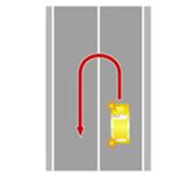 Разворот через сплошную (или двойную сплошную) линию разметки.