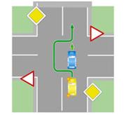 Обгон с выездом на встречную полосу на нерегулируемом перекрестке при движении по главной дороге.
